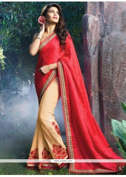 Jacqueline Fernandez Red And Beige Jacquard Saree