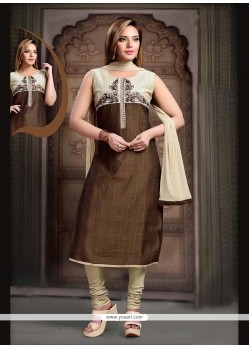Picturesque Brown Embroidered Work Art Silk Readymade Suit