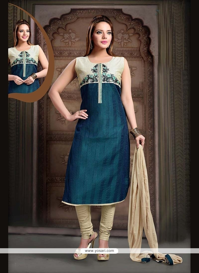 Topnotch Lace Work Teal Readymade Suit