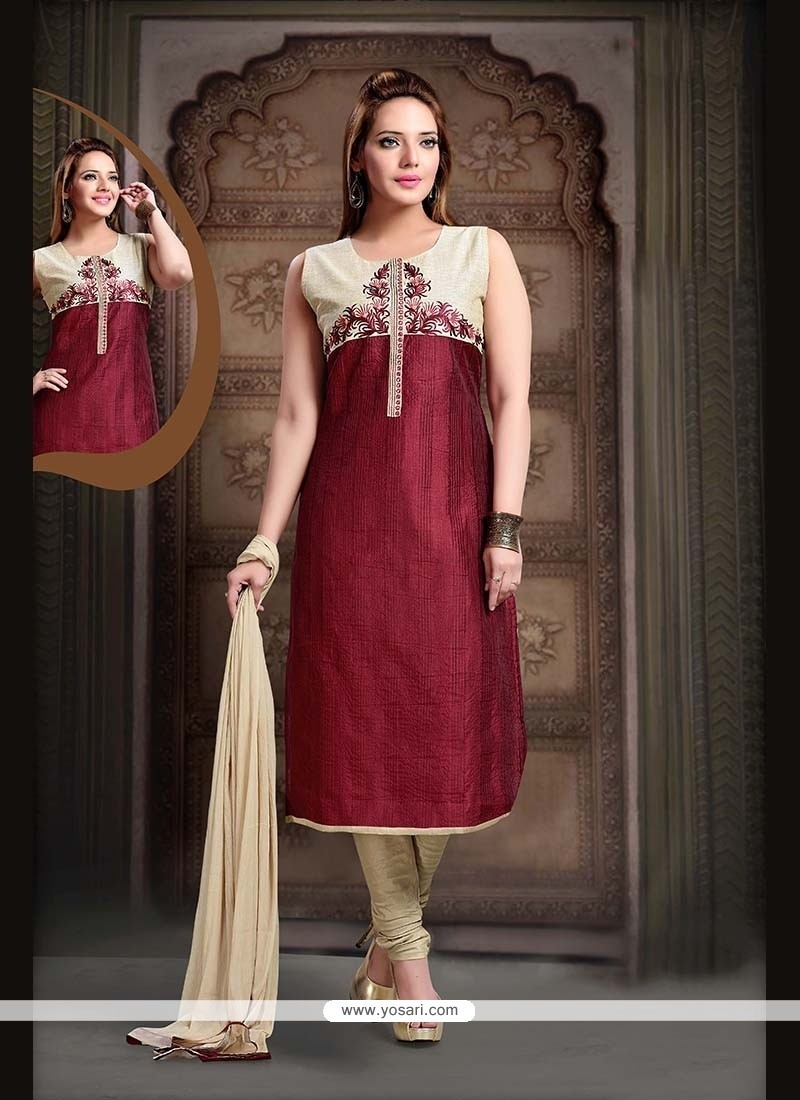 Awesome Maroon Readymade Suit