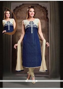 Enthralling Art Silk Navy Blue Readymade Suit