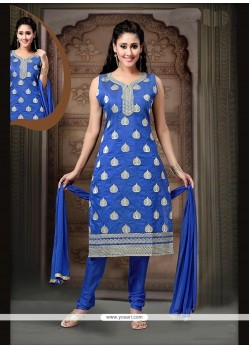 Glorious Art Silk Blue Readymade Suit