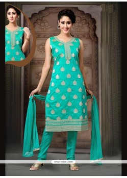 Floral Art Silk Sea Green Embroidered Work Readymade Suit