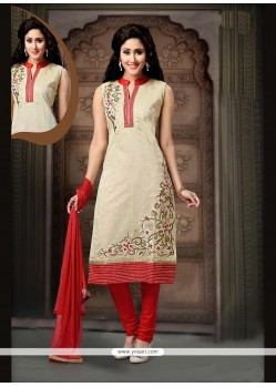 Embroidered Art Silk Readymade Suit In Red