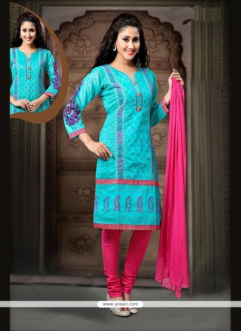 Energetic Embroidered Work Blue Art Silk Readymade Suit