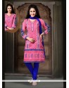 Ideal Pink Embroidered Work Readymade Suit