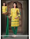 Hypnotizing Yellow Embroidered Work Art Silk Readymade Suit