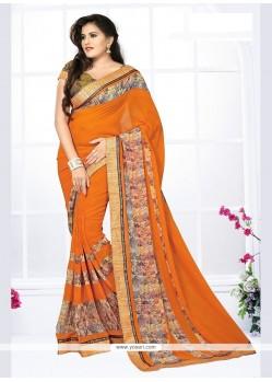 Mystical Orange Printed Saree