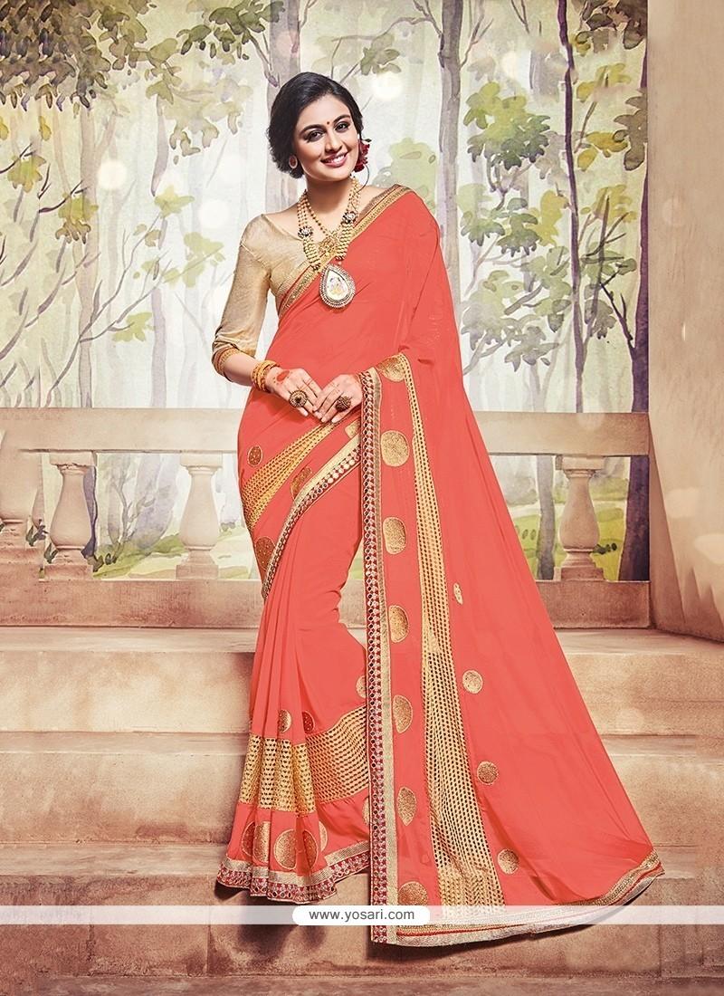 Grandiose Orange Silk Traditional Saree