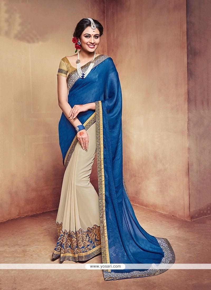Superb Patch Border Work Blue Fancy Fabric Trendy Saree
