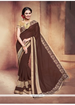 Glossy Patch Border Work Georgette Classic Saree