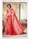 Pretty Red Embroidered Work Jacquard Classic Saree