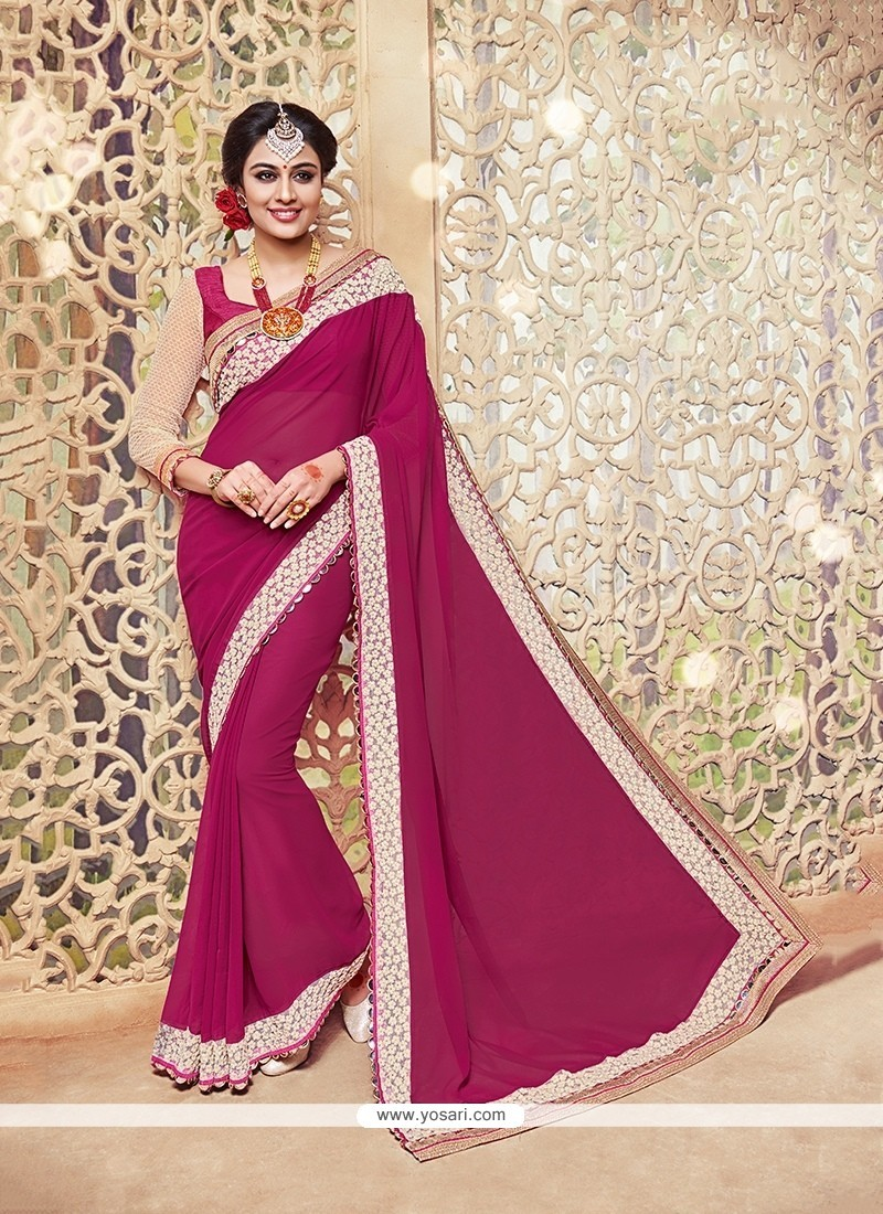 Awesome Patch Border Work Traditional Saree