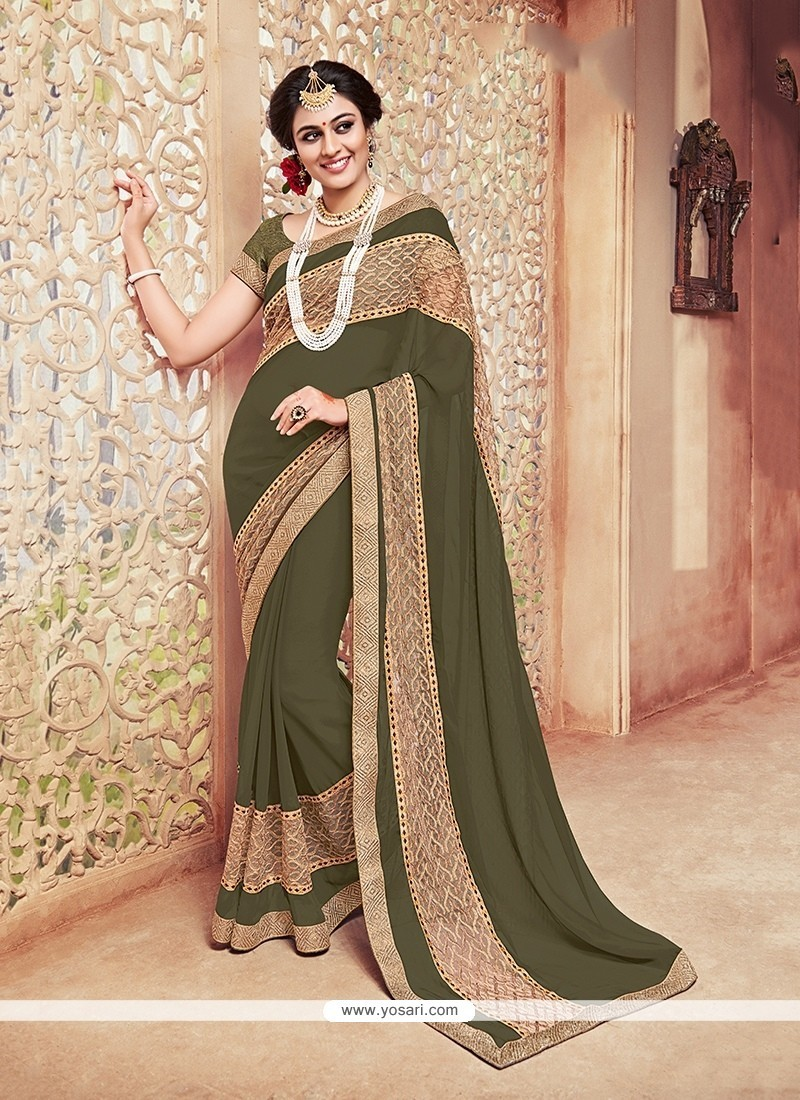 Sonorous Georgette Patch Border Work Classic Saree