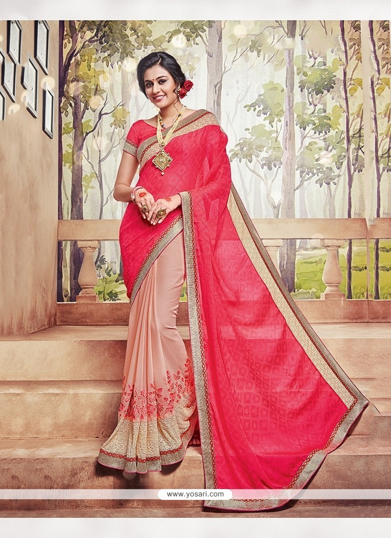 Trendy Satin Pink Embroidered Work Classic Saree