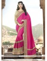 Distinguishable Patch Border Work Hot Pink Trendy Saree