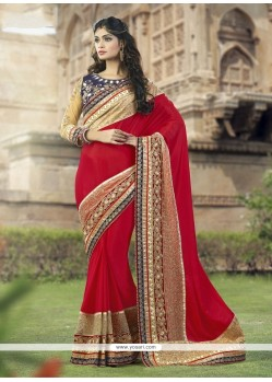 Elegant Patch Border Work Red Traditional Saree