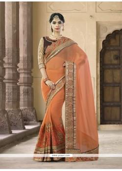 Refreshing Orange Classic Saree