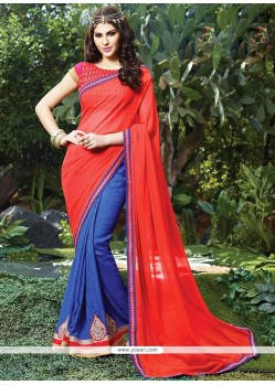 Red Georgette Casual Saree