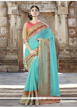 Intriguing Turquoise Patch Border Work Fancy Fabric Designer Traditional Sarees