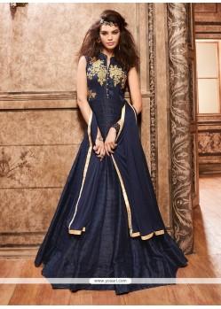 Winsome Banarasi Silk Lace Work Anarkali Salwar Kameez