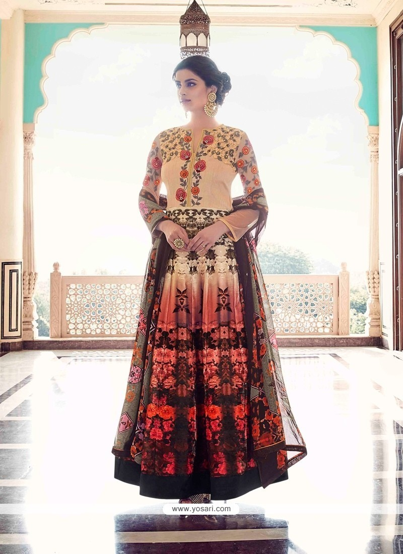 Gripping Embroidered Work Multi Colour Anarkali Salwar Kameez