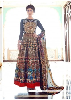 Distinctive Embroidered Work Multi Colour Banglori Silk Anarkali Salwar Kameez