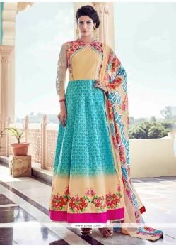 Delightsome Turquoise And Yellow Banglori Silk Anarkali Salwar Kameez