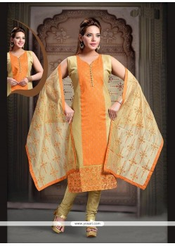 Compelling Orange Embroidered Work Readymade Suit