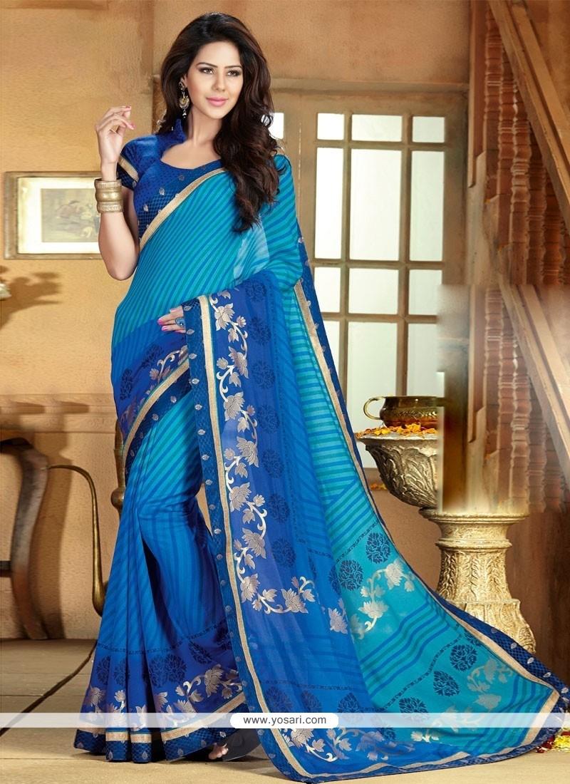 Gorgeous Blue Art Silk Saree