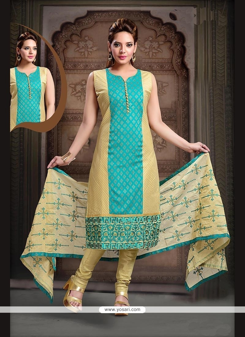Impressive Cotton Sea Green Embroidered Work Readymade Suit