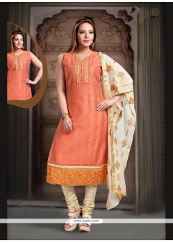 Classical Embroidered Work Peach Readymade Suit
