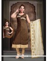 Fashionable Brown Embroidered Work Art Silk Readymade Suit