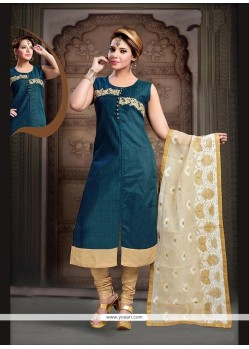 Aristocratic Teal Embroidered Work Readymade Suit