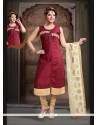 Immaculate Art Silk Maroon Embroidered Work Readymade Suit