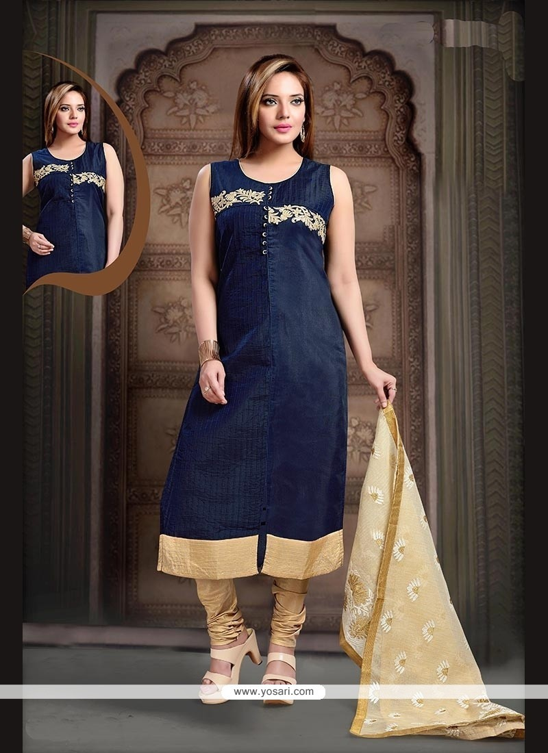 Hypnotizing Embroidered Work Navy Blue Readymade Suit