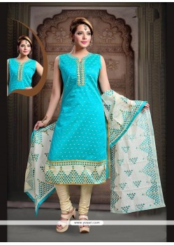 Intriguing Turquoise Embroidered Work Art Silk Readymade Suit