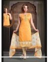Titillating Mustard Embroidered Work Readymade Suit