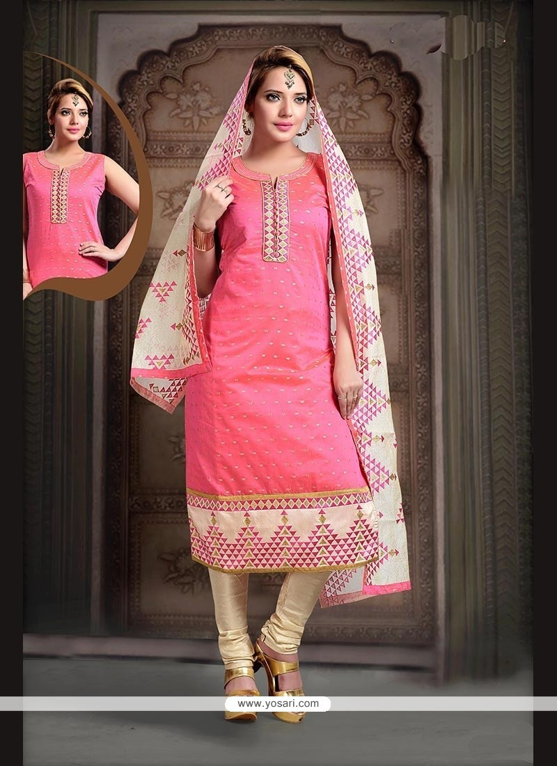 Pleasance Pink Embroidered Work Art Silk Readymade Suit