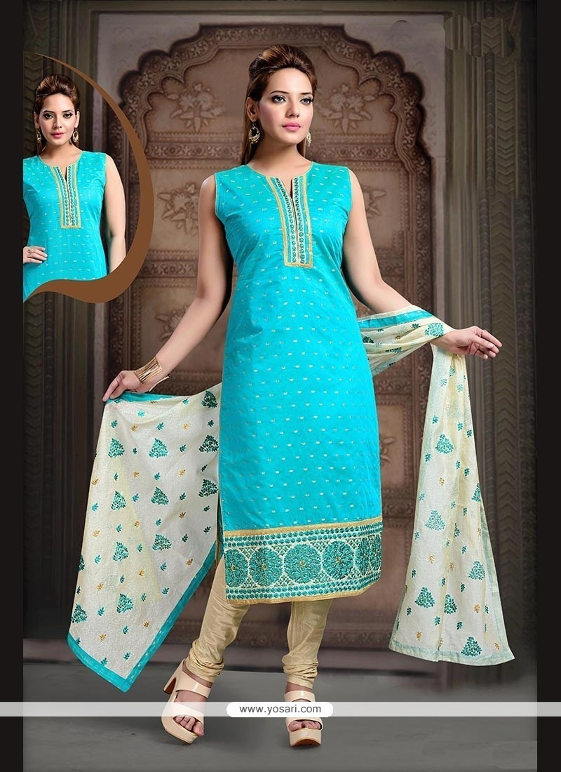 Marvelous Turquoise Readymade Suit