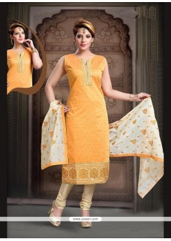 Mesmeric Embroidered Work Art Silk Mustard Readymade Suit