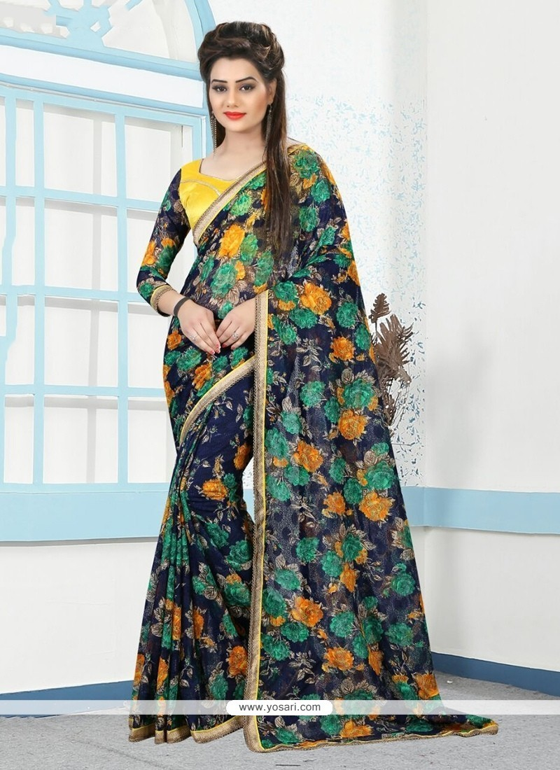 Riveting Net Printed Saree