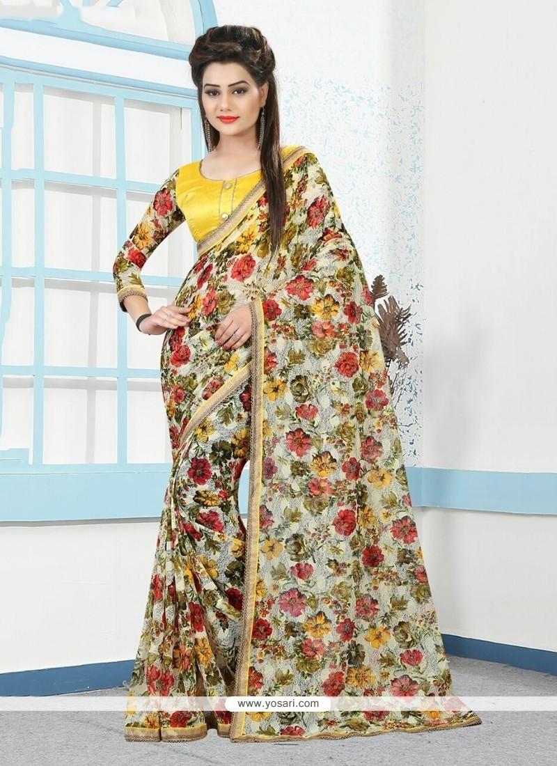Enticing Multi Colour Net Printed Saree