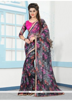 Superb Multi Colour Net Printed Saree