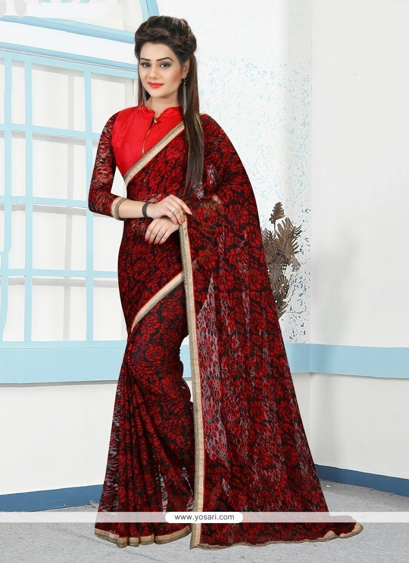 Lovable Red Net Printed Saree