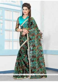 Multi Colour Print Work Net Printed Saree