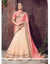 Demure Beige And Rose Pink Patch Border Work Lehenga Saree