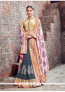 Sparkling Faux Crepe Patch Border Work Lehenga Saree