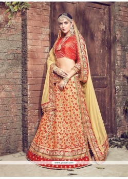Blissful Jute Silk Red Lehenga Saree