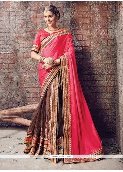 Compelling Brown Faux Chiffon Lehenga Saree